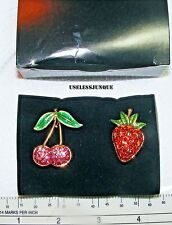 CHERRY AND STRAWBERRY PIN BROOCH PIN SET WITH RHINESTONES AND EPOXY COLORS