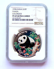 1998 panda 1oz silver coin colorized S10Y NGC PF69 Ultra Cameo