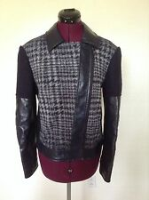 "NEW BCBG $398 ""Madison"" Motorcycle Faux Leather Trim Jacket*Dark Navy Combo*M"