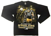 NFL Pittsburgh Steelers Black Graphic T-Shirt Long Sleeve Size Large