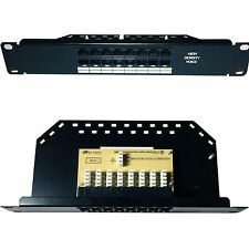 "10"" 1U Mini 8 Port/Way Voice ISDN High Density Patch Panel Phone CAT5/CAT6 AT"