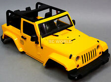 RC Scale Truck HARD Body Shell 1/10 JEEP WRANGLER RUBICON TOPLESS Yellow