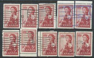 Canada #386(2) 1959 5 cent ELIZABETH II ROYAL VISIT 10 Used