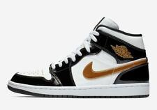 93afb8fe08cc6b Nike Air Jordan Retro I 1 Mid Black Gold Patent Leather 852542-007 AJ1  Men GS