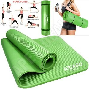 Yoga Mat for Pilates Gym Exercise Extra Thick Large Comfortable NBR +Carry Strap