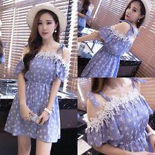 Vintage Korean Women Slim Off Shoulder Sundress Summer Evening Party Short Dress