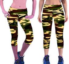 army khaki camo super soft knee length women's gym yoga dance fitness leggings