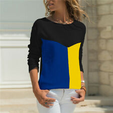 ebc414364b14fe Womens T-shirt Long Sleeve Round Neck Patchwork Pullover Slim Fit Female  Tops US