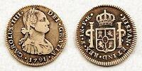 """España-Carlos IV. 1 Real. 1791. Potosi.""""Cabeza grande"""" MBC/VF. Plata 3,4 g. Rara"""