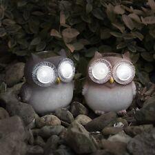 2 PC Owl Statue Set Outdoor Garden Decor Lawn Ornament Patio Yard LED Light NEW