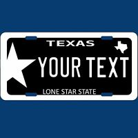 Black Texas TX Lone Star State Novelty Aluminum Car License Plate Tag Custom
