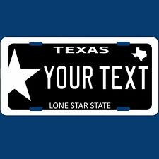 Black Texas TX Lone Star State Novelty Aluminum Car License Plate Tag Custom