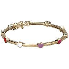Multi Color Enamel Heart Gold Tone Bangle Cuff Bracelet 50 mm