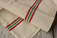 Christmas towel linen French vintage red  green stripe cloth kitchen hand fabric