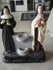 """Vintage 1923 L Pellesrine Church Used Statue Teresa and  Virgin Mary  15"""" Tall"""