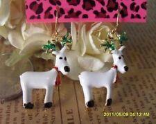 E441 Betsey Johnson Dangling Santa Christmas Deer Earrings  US