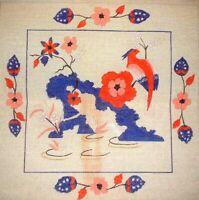 MZC Vintage Oriental Bird & Flowers HP Hand Painted Needlepoint Canvas