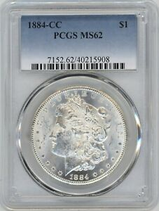 1884-CC PCGS MS-62 Morgan Silver Dollar ~ WHITE AND LUSTEROUS ~ STARTS AT 1c