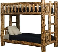 Rustic Aspen Log Mission Style Bunk Beds - Queen over Queen - Amish Made in USA