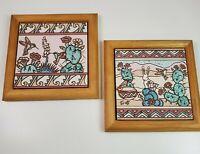 Vtg 1990 Earthtones Signed Tu-oti Framed Tile Trivet Arizona Southwest Set of 2
