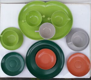 Vintage 13 Pieces Branchell 1950's Color-five set, Fashioned of Melmac
