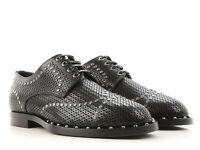 Dolce&Gabbana Men fashion laser cut laced-up Oxford studs shoes in black leather