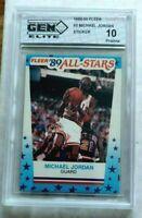 Michael Jordan GEM ELITE Mint 10 1989-90 Fleer Basketball Sticker w Subgrades