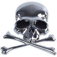 Metal 3d Wicked Skull Bone Forma motocicleta coche emblema insignia adhesiv P4R1