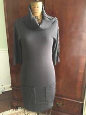 Catherine Malandrino S Small Sweater Dress Cowl Neck Bodycon Charcoal Gray EUC!