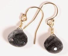 Greenwood Designs Faceted Rutilated Quartz 14k gf Gold Dangle Earrings