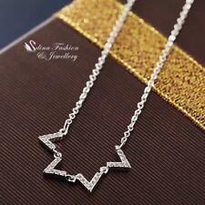 18K White Gold Filled Simulated Diamond Stylish Triangle Statement Necklace