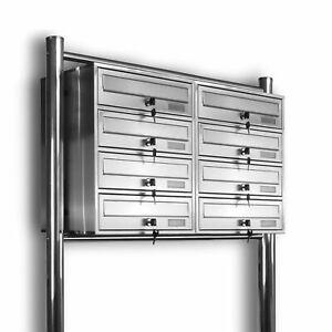 8er 2x4 Kelvin® - Edelstahl Standbriefkasten Briefkasten Briefkastenanlage