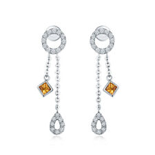 14K White Gold Engagement South Africa Diamonds & Yellow Sapphire Earrings