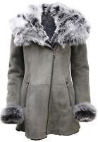 Ladies Luxurious Grey Suede Merino Sheepskin Coat with Toscana Collar