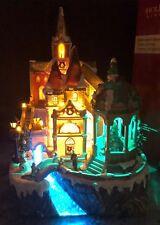 "Christmas Animated Church Lighted Village Sound Fiber Optic Musical Tree 15.6"""