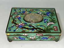 Antique Chinese Cloisonné Enamel Box w/ Carved Jade Oval Panel Early