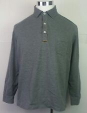Nautica Grey Polo L/S Shirt Leather Elbow Patches