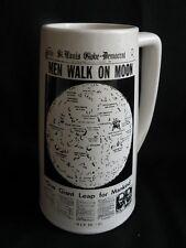 Vtg MEN WALK on MOON Beer Stein Mug Ceramic St Louis Globe Democrat Headlines