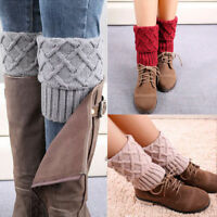 Womens Ladies Winter Crochet Leg Warmers Knitted Boot Cuffs Trim Toppers Socks
