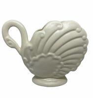 VINTAGE Mid-Century Ceramic Swan White Planter 5 Inch