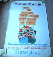 Original 1966 Disneyland Hand Silk Screened It's A Small World Poster Near Mint