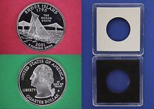 2001 S Proof Rhode Island State Quarter With 2x2 Case Clad Flat Rate Shipping
