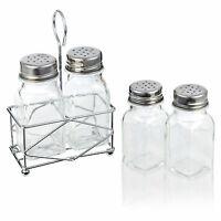 Glass Salt & Pepper Pot Set Dispenser W/Stand Holder Kitchen Restaurant B&B NEW