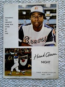 VINTAGE HANK AARON NIGHT PHOTOGRAPH AT THREE RIVERS STADIUM  MAY 1974 VG +