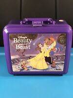 Beauty and The Beast Plastic Lunch Box & Thermos 1990's Blue Aladdin  USA Disney