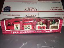 Vintage 4 pcs Candle Christmas Express Train Candles Set Bears  Tree w/ Box