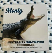 2016 Australia Monty Australian Saltwater Crocodiles $1 1 oz Silver Proof coin