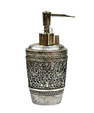 NEW RAYMOND WAITES  CARVED GRAY,SILVER OVAL RESIN SOAP,LOTION DISPENSER