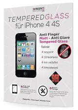 1x Hartglas für Apple iPhone 4 4S Schutzglas Echt Glas 9H Schutzfolie MATT