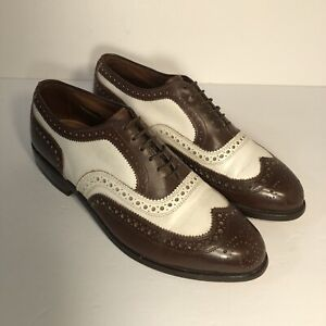 Allen Edmonds Broadstreet Brown/White Spectator Wingtip Oxfords Size 7 D (B)